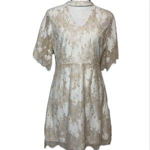 Altar'd State cream lace choker dress